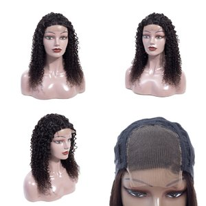 150% Density Curly Brazilian Virgin Human Hair Wig 4x4 Lace Frontal 100% Remy Peruvian Indian Human Hair Wigs Cap