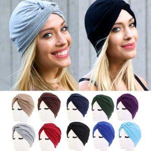 Women's Elegant Stretchy Hat Turban Forehead Cross Hat Head Wrap Solid Color Bandana Scarf Girl Cap
