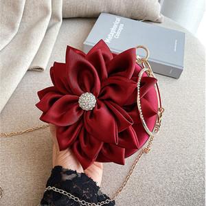 Red flower Clutch Purse Women Round Evening Bag Crystal Diamond Wedding silk Handbag Exquisite Chain Shoulder Bags FTB154 200919