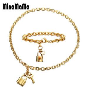 Хип-хоп из нержавеющей стали PadLock Ключевые комплекты ювелирных изделий для женщин Мужчины Padlock Брелоки браслет ожерелье Пара Ювелирные наборы