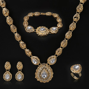 Fani Nigerian Women Wedding Jewelry Set 2020 Fashion Fashion African Nupcial Bijoux Joyería Set Wholesale Dubai Gold Designer