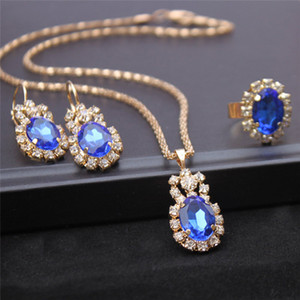2020 Hot Crystal Stone Gold Chain Necklace Earrings Ring Jewelry Set Blue Red White Drop Pendant Wedding Jewelry For Brides