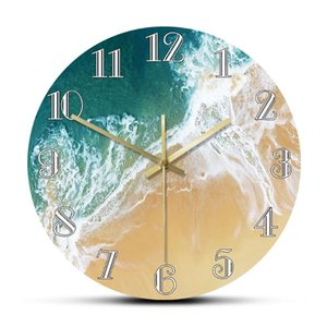 Tropical Ocean With Big Waves Scenery Wall Clock Nautical Home Decor Minimalist Wall Art Coastal Seashore Aerial Beach Clock