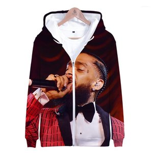 Printemps Zipper capuche Rap 3D imprimé Sweat Nipsey Hussle Hiphop Hommes pulls à capuche