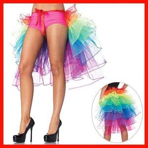 Hot Sale Womens Layered Rainbow Bustle Skirt Dance Tulle Tutu Skirt For Clubwear Carnival American Party Skirts Dance Fairy
