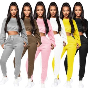 Women Tracksuits Two Pieces Set High Waist With Long Sleeves Pants Sweater Casual Fashion Autumn Winter Sportwear J987