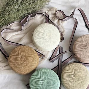 Women Handmade Hangbag Fashion Straw Weave Round Bag Small Summer Beach Travel Shoulder Bag Casual style Cross Body Bag