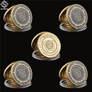 5pcs Chip Craft USA Texas Hold'em Flop Turn River Big Small Blind Poker Chip Guards Carta Buona fortuna Gold Plated Challenge Coin