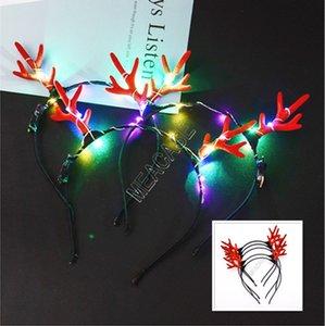 LED Antlers leuchten Stirnband Lumious Flashing-Haar-Stöcke Halloween-Weihnachtsparty Cosplay Geschenke Licht emittierende Weihnachten Deer Haarspange d91703