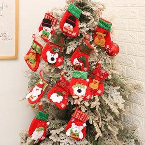 bolsa de regalo de la decoración de navidad regalo de Santa Claus calcetines alces bolsa de regalo pequeño de la etiqueta de lentejuelas de Navidad calcetines