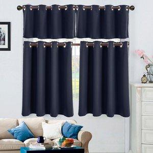 Color sólido del apagón cortina de tela Corto Cortinas Blackout cortinas de la cocina moderna