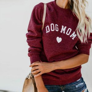 Manoswe Crew Neck Dog Mom And Cat Mom Kawaii Letter Prints Long Sleeve Hoodies Women Sweatshirt Tops Fashion Pullover Outfits
