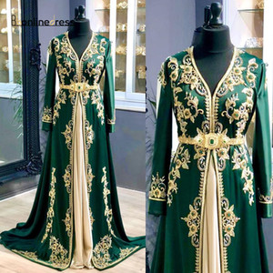 Luxus-Grün marokkanische Kaftan Abendkleider 2020 lange Hülsen-Spitze wulstige Abendkleider Dubai Abaya formale Partei-Kleider 2020 Muslim