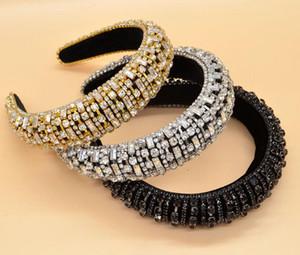 Hot Barock Glaskristallhaarband große Rechteck-Diamant-Modedesigner-Haar-Verzierung Strass Frauen Stirnband