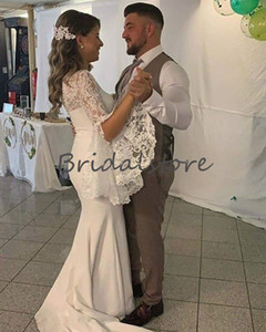 Modest Mermaid Wedding Dresses With Sleeves Sexy V Neck Floor Lengh Satin Country Garden Wedding Gowns Cheap 2020 Beach Bridal Party Dress