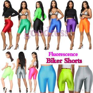 Glossy Fluorescence Biker Shorts women Summer Tracksuit High Waist Slim elastic Streetwear fashion Satin Neon Bodycon Short Pants leggings