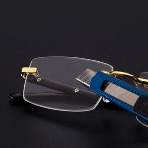 Vazrobe lunettes de lecture Hommes lentille en verre anti-rayures dioptrique Lunettes de soleil homme sans monture Cristal Anti yeux Lunettes sec