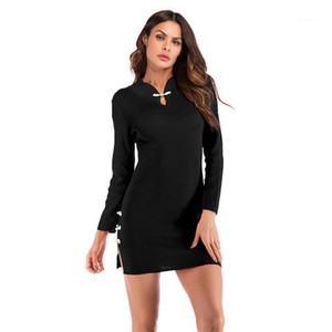 Skirt Womens Designer Vintage Cheongsam Knit Dress Solid Color Stand Collar Slit Slim Temperament Hip Famale