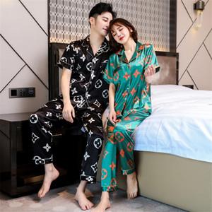 Новая пара Цветочная Печатный Пижамы Шелк Сатин Пижамы Набор длинных и коротких пуговицах Пижамы Костюм Pijama Женщины Мужчины Loungewear Плюс Размер # 326