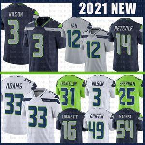 SeattleSeahawks54 3 Russell Wilson 33 Jamal Adams Fußball-Jersey-14 DK Metcalf Bobby Wagner Tyler Lockett 12s Thomas Kanzler