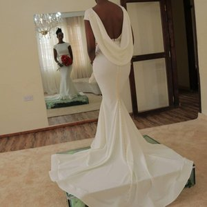 African Backless Wedding Dresses With Sash Beads Sequins Cap Sleeves Bridal Dress Cheap Mermaid Wedding Gowns Satin Cheap vestidos