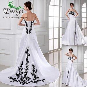 Black And White Wedding Dress Ball Gown Satin Court Train Lace Up 2019 Bridal Gowns Vestido De Noiva Western Cheap Bride Dresses
