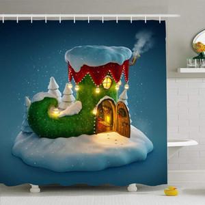 Elfs Peri Green House dekore Noel Şekli Ev Tatiller Snow ile Kancalar 66x72 Çocuk Şaşırtıcı ile Perde Set Duş