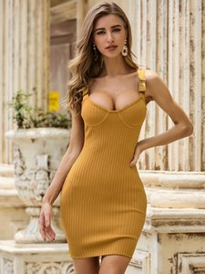 Free Shipping 2020 New Chic Ginger Mini Dress Buckle Design Celebrity Party Club Bandage Striped Slip Dress