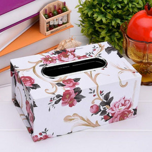 New Fashion Black red Tissue Square case PU Leather Box Home Office napkin Durable Inner Car Leather Waterproof Holder
