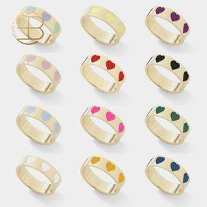 2020 Droshipping Jewelry New Cute Baby Розовый Синий Красочные Любовь Кольца для женщин Дружба Эмаль сердца Золотые кольца для женщин