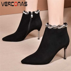 VERCONAS Sexy Fashion Women Kid Suede Ankle Boots Autumn Winter Office Lady Shoes Woman Side Zipper Thin Heels Rhinestone Boots