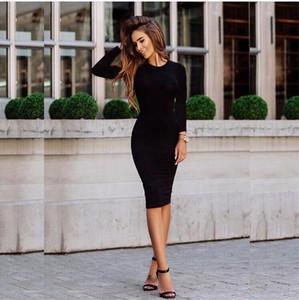 Roupa do partido sexy Mulheres Só Dresses Pedaço longo da luva magro pacote Nádegas Ladies Clothing Magro Night Club Vestem