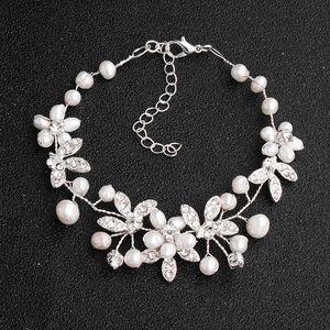 SLBRIDAL main Wired Trendy Charm Perles d'eau douce strass cristal Mode Femmes Filles Bracelet mariage Bracelet