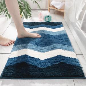 Flocado baño de absorción de agua de la alfombra del cojín del pie moderno Salón Dormitorio Hall de entrada Felpudo suave rayas alfombrilla antideslizante