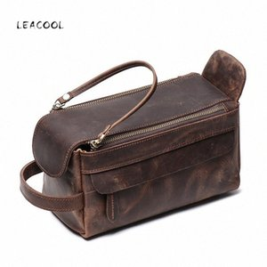 LEACOOL Crazy Horse Cow Leather Cosmetic Bag For Men Travel Toiletry Bag Large Capacity Wash Bags Man's Make up Bags Organizer R72L#