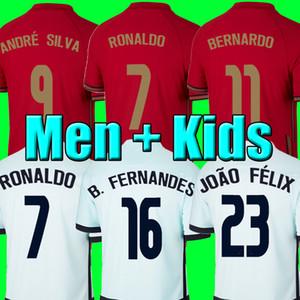 Maglia da calcio RONALDO Portogallo JOAO FELIX 2020 2021 Maglia da calcio BRUNO FERNANDES 20 21 MEN + KIDS imposta uniforme