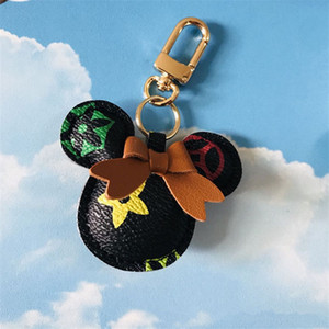 DHL Mouse Car Keychain Flower Bag Pendant Charm Jewelry Keyring Holder for Women Men Gift Fashion PU Leather Animal Key Chain Accessories