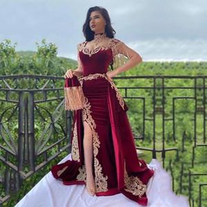 Customize Arabic Mermaid Velvet Evening Dress 3 Pieces Overskirt Split Applique Lace Prom Gowns High Neck Tassel Algerian Outfit