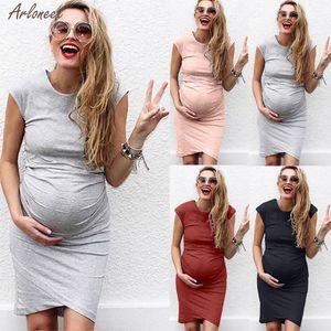 Hamile elbisesi Kadınlar Moda Katı Renk Kolsuz Annelik pregnat Casual Rahat Hamilelik Dresse Giyim