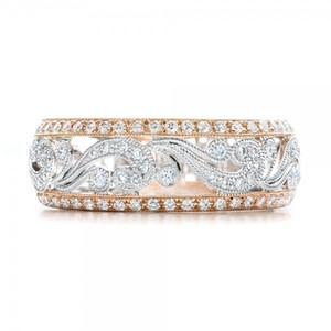 FDLK lusso Solitaire anello della fascia con il fiore della cavità design brillante Cubic Zirconia gioielli da cocktail del partito anelli per le donne