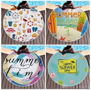 Summer Holiday Round Mats 150cm Fringed Design Prints Hawaii Styles Towel Lady Charm Tassel Beach Casual Lunch Shawl Popular 26ql G2