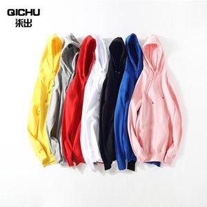 Мужские толстовки толстовки 9 цветов мужской сплошной цвет большой размер мода повседневная капюшона свободная толстовка стрит одежда спортивный свитер XS-XXL