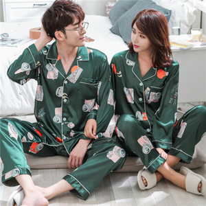 Summer couple silk ice silk Pajama printing camera long sleeve short sleeve casual Korean loose youth home pajamas