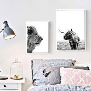 Lion Плакаты Печать ЯК Плакат скандинавские стены Искусство Животные Живопись Холст Современные настенные картины для гостиной UNFRAME