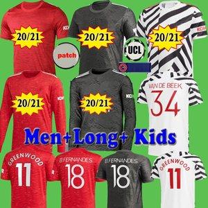 Manchester 2020 2021 vereinigte UTD-Fußball Jersey Spieler Fans VAN DE BEEK Greenwood B. FERNANDES Langarm Fußball-Hemden 20 21 Mann Kinder-Kit