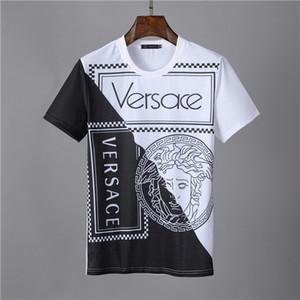 Yaz Casual Erkek Tasarımcılar T Gömlek Sıcak Yapay elmas İnce Mürettebat Boyun Tee Merserize Pamuk Tops Kısa kollu