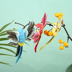 12pcs Colorful Pure White Artificial Birds Home Garden Shop Scenery Foam Feather Clip Crafts Decorative Ornaments