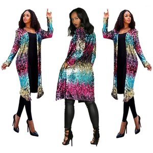 Open Stitch Women Designer Long Sequined Cardigan Jacket Spring Autumn Colorful Fashion Jacket Coats