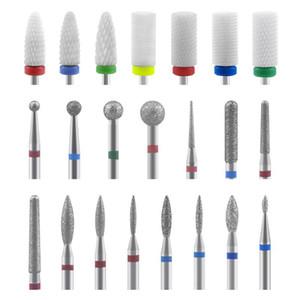 10pcs Diamond Nail Drill Bit Set Ceramic Carbide Milling Cutter Nail Manicure Polish Machine Set File Art Tool Accessories