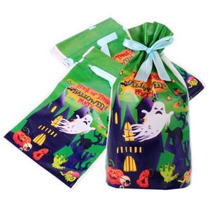 Halloween Candy Bag 50pcs Biscuit Biscuit Sac d'emballage avec ruban pour les enfants